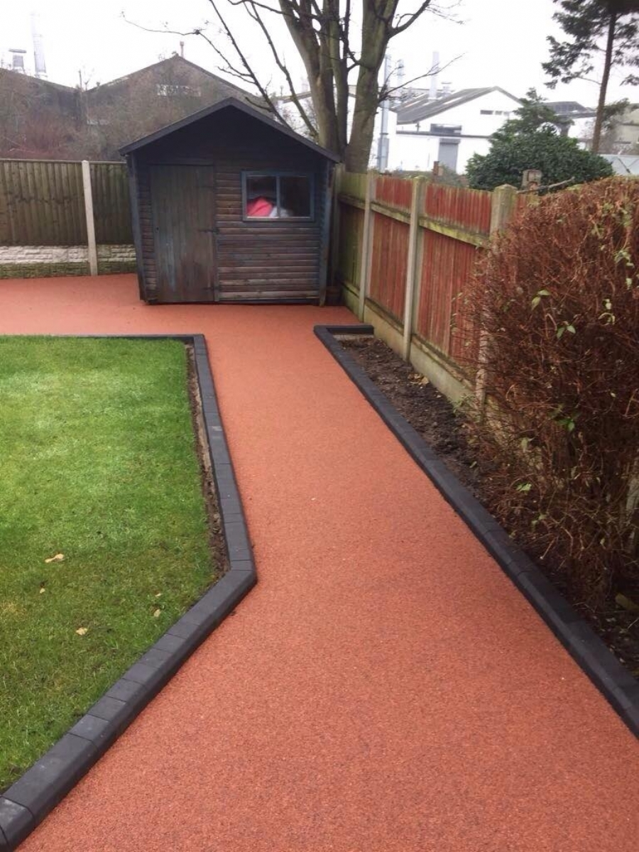 Red resin bound gravel pathways